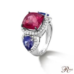 This stunning ring has been beautifully crafted with a cushion-shaped #Ruby nestled amidst brilliant-cut #Diamonds and #Tanzanites, set in 18K White Gold from our 'Colours of Life' collection #coloursoflife #thehouseofrose #luxury #jewellery #indianjewellery #gems #precious #india #jewelry #indianjewelry #love #rose #rosejewels #rosemoments #mumbai #delhi #bespoke #craftsmanship #diamond #luxurylifestyle #bijoux #heritage #legacy