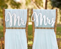 Like the look of the mirror signs without all the shine? This classic chair sign set also comes in a matte version! | Mr. and Mrs. Silver Shimmer Chair Signs | 6 Great Chair Signs for Every Type of Wedding | My Wedding Favors
