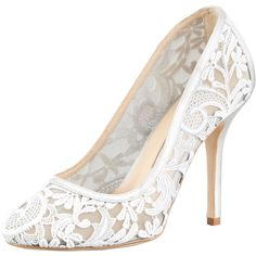 Oscar de la Renta Lace-Mesh Pump, Gray ($312) ❤ liked on Polyvore featuring shoes, pumps, heels, sapatos, wedding, lace pumps, grey high heel shoes, high heel court shoes, high heeled footwear and gray shoes