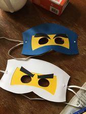 Ninjago masks made of cardboard - paintings and decoration- # decoration # . - Ninjago masks made of cardboard – paintings and decoration- # decoration - Ninja Birthday, Lego Birthday Party, Unicorn Birthday Parties, Cardboard Mask, Cardboard Painting, Bolo Lego, Crochet Bee, Diy Games, Mask Party