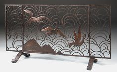 WROUGHT IRON FIRESCREEN, ATTRIBUTED TO EDGAR BRANDT