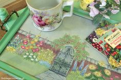Vintage Home - Pretty Embroidered Walled Garden and Painted Tray: www.vintage-home.co.uk