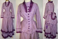 Victorian Purple White Checkered Plaid Gingham Silk Reception Gown Bustle Dress | eBay