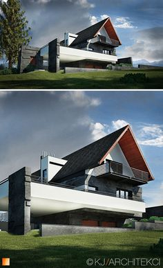Residence in Zakopane Georgian Architecture, Roof Architecture, Unique Buildings, Beautiful Buildings, House Roof, Facade House, Modern House Plans, Modern House Design, Metal Building House Plans