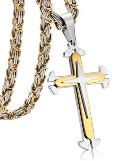Jstyle Stainless Steel Mens Cross Pendant Necklace Byzantine Chain Necklace f...
