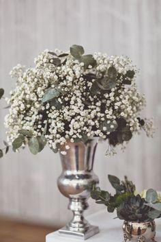 Gypsophila | Baby's Breath Floral Arrangement | Autumn Vintage Glamour DIY Wedding | Mono colour scheme | Image by Anna Clarke Photography | http://www.rockmywedding.co.uk/charmaine-ed/
