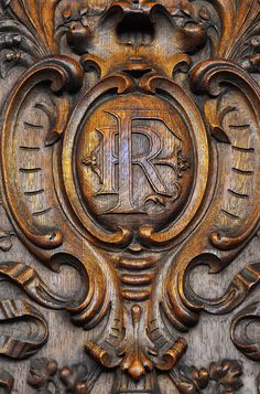 ⌖ Architectural Adornments ⌖  ornate building details - carved relief with monogram