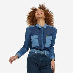 b1387c89a0 Peter Max™© x Wrangler® Women s Long Sleeve Button Down Spread Collar Denim  Shirt