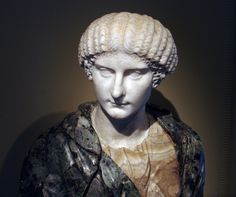 Agrippina the Younger, sister of Emperor Caligula, mother of Emperor Nero, wife of Emperor Claudius, head of Roman bust (marble), 1st century AD (head), (bust 18th c.), (Museum of Art of the Rhode Island School of Design, Providence).