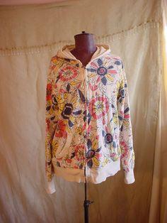 Merona Hoodie Sweatshirt XXL Zip Front Pockets Cotton Floral on Ivory #Merona #Hoodie