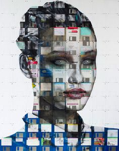 UK artist Nick Gentry has been quite busy lately, completing a number of his trademark portraits painted on a canvas of old 3 1⁄2″ floppy disks. He uses the disks' centers as the portraits eyes, guiding the proportionality and lending the figures their particularly uncanny penetrating stares.
