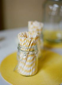 Striped paper straws to go in the mason jars. How fun! First Birthday Parties, First Birthdays, Heart Party, Kiss The Cook, Yellow Paper, Paper Straws, Wedding Reception, Wedding Ideas, Event Design