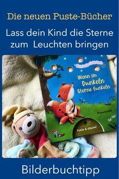 """Pustebücher sind eine neue Innovation in der Welt der Pappbücher. Mit """"Mein Puste-Licht-Buch"""" hat der Esslinger Verlag zwei Pustebücher herausgebracht, bei denen man mittels Pusten kleinen Lämpchen zum Leuchten bringen kann. Ich stelle euch heute das Pustebuch """"Wenn im Dunkeln Sterne funkeln"""" und das Pustebuch """"Die kleine Tröste-Fee"""" auf meinem Blog Familienbücherei vor. #Kinderbücher #Kinderbuch #Pustebuch #Bilderbuch #Einschlafen #GuteNachtbuch Innovation, Teddy Bear, Toys, Animals, Books For Kids, Cute Illustration, Falling Asleep, Traveling With Children, Activity Toys"""