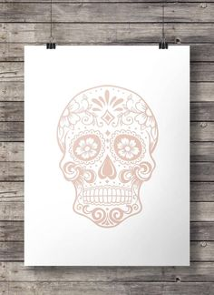 Chalk pink and faux metallic pink  sugar skull print  - A2 Printable wall art  INSTANT DOWNLOAD