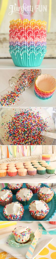 A fun recipe for homemade Funfetti Cupcakes. White cake loaded with rainbow sprinkles, topped with buttercream icing and more sprinkles! A cupcake recipe by Lauren Kapeluck. Funfetti Cupcake Recipe, Baking Cupcakes, Fun Cupcakes, Cupcake Cookies, Cupcake Recipes, Sprinkle Cookies, Sweet Party, Cake Blog, Tips & Tricks