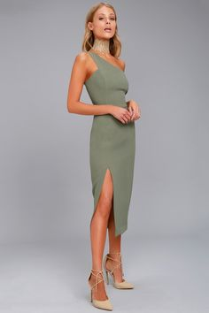 Finders Keepers Haunted Olive Green One-Shoulder Midi Dress 2 Olive Green Formal Dress, Olive Green Bridesmaid Dresses, Green Formal Dresses, Olive Dress, Formal Midi Dress, Blue Wedding Guest Dresses, Finders Keepers Dress, Event Dresses, Prom Dresses