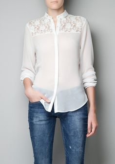White Patchwork Lace Single Breasted Chiffon Blouse