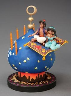 Aladdin e Jasmine Cake - cake designer - Pastel de Tortilla Gorgeous Cakes, Pretty Cakes, Cute Cakes, Amazing Cakes, Crazy Cakes, Fancy Cakes, Fondant Cakes, Cupcake Cakes, Aladdin Cake