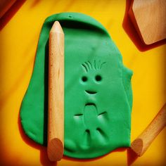Kids can use this #PlayDoughToolOfTheDay in lots of different ways. Makes eyes with the pointed end and cuts with the slanted end. Doubles as a mini #RollingPin too. Use with #PlayDough and #clay.