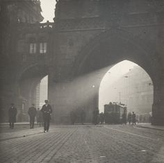 A streetcar at the Powder Tower, Prague, Czechoslovakia (now the Czech Republic), late photo by Josef Sudek Amazing Photography, Street Photography, Landscape Photography, Art Photography, Josef Sudek, Famous Photographers, Monochrom, Chiaroscuro, Commercial Photography