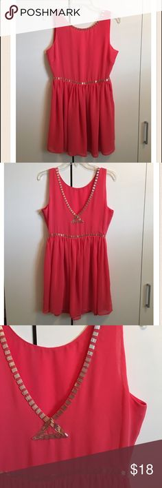 """Forever 21 Salmon/Coral Beaded Chiffon Dress Forever 21 Salmon/Coral Beaded Chiffon Dress. Gorgeous! In excellent condition! Polyester. Very soft and flowy. Silver tube beading. Bust 34"""", waist 27"""", length 33"""". The color is more like the last picture. Forever 21 Dresses Midi"""