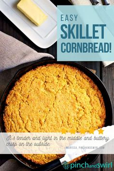 True Southern Style Skillet Cornbread is tender and light inside and buttery crisp on the outside. It's taken me years to perfect this recipe and I'm so excited to share it! (yeastless, no yeast bread) Best Skillet, Skillet Meals, Skillet Recipes, Potluck Side Dishes, Side Dishes Easy, Easy Make Ahead Appetizers, No Yeast Bread, Skillet Cornbread, Easy Party Food