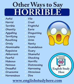 Other Ways to Say HORRIBLE in English, Different ways to say horrible, synonyms of horrible in english; Essay Writing Skills, English Writing Skills, Book Writing Tips, Writing Words, English Vocabulary Words, English Phrases, Learn English Words, English Study, English English