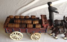 Cast Iron Clydesdale Horse Drawn Wagon With Wooden Barrels