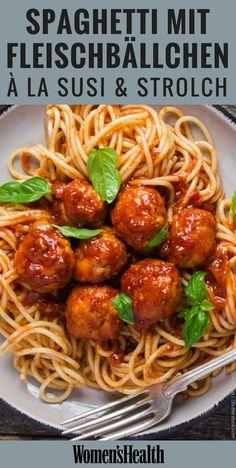 Spaghetti essen à la Susi und Strolch: Diese leckere Pasta mit Hackbällchen sc. Spaghetti essen à la Susi und Strolch: Diese leckere Pasta mit Ha. Paleo, Spaghetti And Meatballs, Spaghetti Recipes, Pasta Spaghetti, Baked Spaghetti, Shrimp Pasta, Chicken Pasta, Pasta Recipes, Meatball Recipes