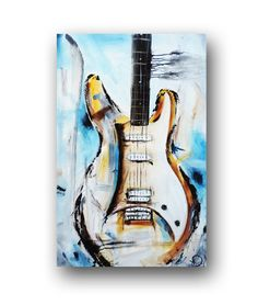 Guitar Painting Blue Abstract Painting by heatherdaypaintings, $330.00