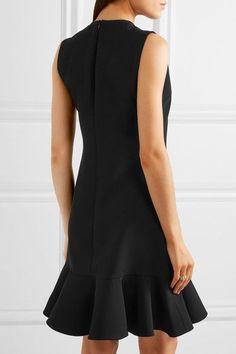 Victoria, Victoria Beckham - Ruffle-trimmed Crepe Mini Dress - Black - UK10