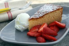 Moist Almond Cake / David Lebovitz (uses almond paste, extract) Just Desserts, Delicious Desserts, Yummy Food, Fun Food, Cake Recipes, Dessert Recipes, Vegan Recipes, Classic Cake, Just Cakes