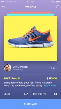 Dribbble - Betraydan-SneakerUI-1a.png by Daniel Klopper #color #mobile #ui