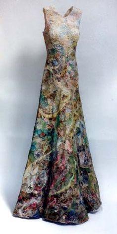"Jenni Dutton ~ ""Memory Dress"" mixed media ""Memory is an inevitable… Moda Fashion, Diy Fashion, Fashion Design, Hippy Chic, Creative Textiles, Moda Vintage, Nuno Felting, Textile Artists, Felt Art"