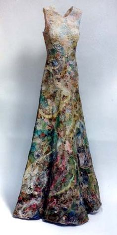 "Jenni Dutton ~ ""Memory Dress"" (2001) mixed media ""Memory is an inevitable outcome of the women's patchwork, a theme fundamental to my own work.…I tore up maps, letters, tickets, envelopes. I cut up fabric, old clothes and a pillowcase… all the odd things we gather over time.…""~artist's statement re project process  jennidutton.com"