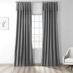 Exclusive Fabrics & Furnishings Millstone Gray Room Darkening Solid Cotton Tie-Top Curtain - 50 in. W x 108 in. - The Home Depot Tie Top Curtains, Curtains 1 Panel, Layered Curtains, Sheer Curtain Panels, Grey Curtains, Rod Pocket Curtains, Room Darkening Curtains, Colorful Curtains, Curtain Styles
