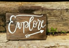 Explore Wooden Sign Hand Painted Sign Arrow by TheFreckledGoose