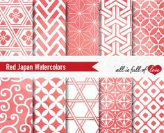 Red Japanese Watercolor Paper by All is full of Love on @creativemarket