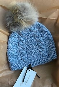 Cable Knit Beanie Hat with Real Extra Large Silver Fox Fur Pom-Pom NWT