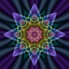 Its my favorite flower! Fractal Design, Fractal Art, Kaleidoscope Images, Antique Perfume Bottles, Star Flower, Patterns In Nature, Mandala Art, Sacred Geometry, Wonderful Images