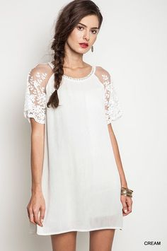 Woven Shift Dress With Lace Sleeve Detail
