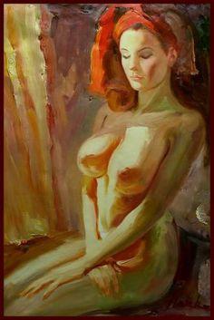 赤いスカーフの裸婦
