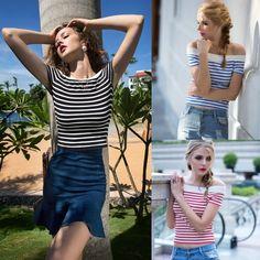 Women Fashion Elegant Sexy Slim Strapless Off Shoulder Short Sleeve Classic Stripe Tops Blouse