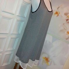 """Hail3y:23 Striped Tank Top Dress Mesh Bottom Tank top dress, in near~ EUC~Fabric showing almost no wear. Hand washed, clean ready to wear. measured flat- armpit to armpit,almost 19""""~ waistline about 17.5~ bottom hemline opening 22""""~ 33"""" striped part  & 37"""" with mesh long . 56 polyester 39 round 5 spandex. ~No offers please ~smoke free~ Hail3y:23 Dresses Midi"""