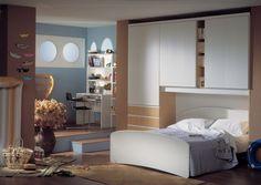 Camera per ragazzi con armadio a ponte bianco | dormitor ...