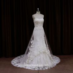 New model 2016 pearl lace embroidered crystal bead lace china factory real sample wedding dress