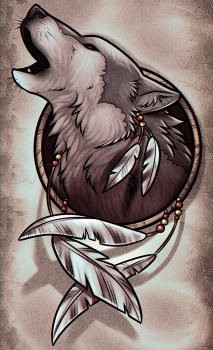 drawing a wolf dreamcatcher