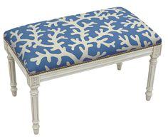 Coastal Upholstered & Wood Bench