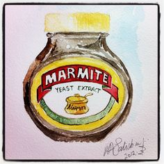 Marmite - Love IT Yeast Extract, Marmite, Canning, Watercolour, Drinks, Food, Illustration, Pen And Wash, Drinking
