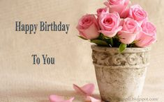 Happy birthday cake and flowers images ~ Greetings Wishes Images